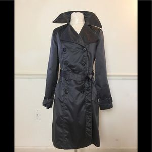 ESPRIT Grey Small Satin long belted trench coat